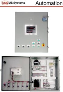 FIBC Bulk Bag Filling Machine Control Panel showing the outside of the panel and the electrical components inside