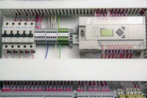 Industrial Automation Control Panel Interior view with PLC Programmable Logic Controller