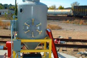 This US Systems pneumatic conveying system is installed to unload portland cement from railcars in Dubuque, Iowa.