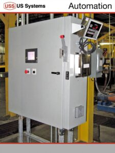 A US Systems FIBC bulk bagger control panel installed in an industrial plant
