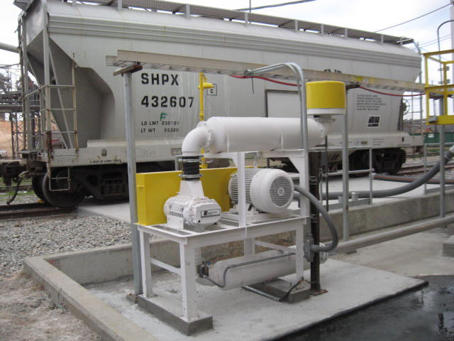 A blower package as part of a pneumatic conveying system unloading a railcar.