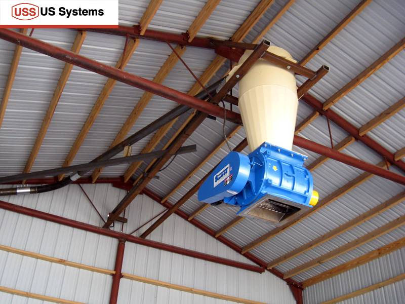 US Systems Cyclone Separator installed above a rotary airlock.