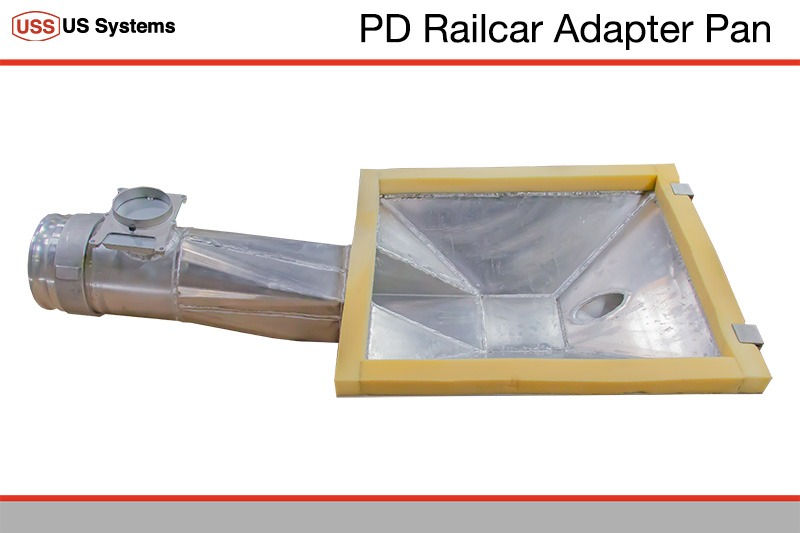 Railcar Adapter Pan for pneumatically conveying material from a PD Railcar